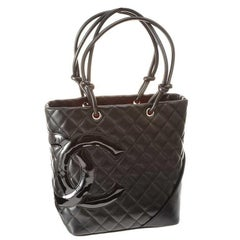 Chanel Quilted Black Leather Bucket Bag Handbag Silver Tone Hardware