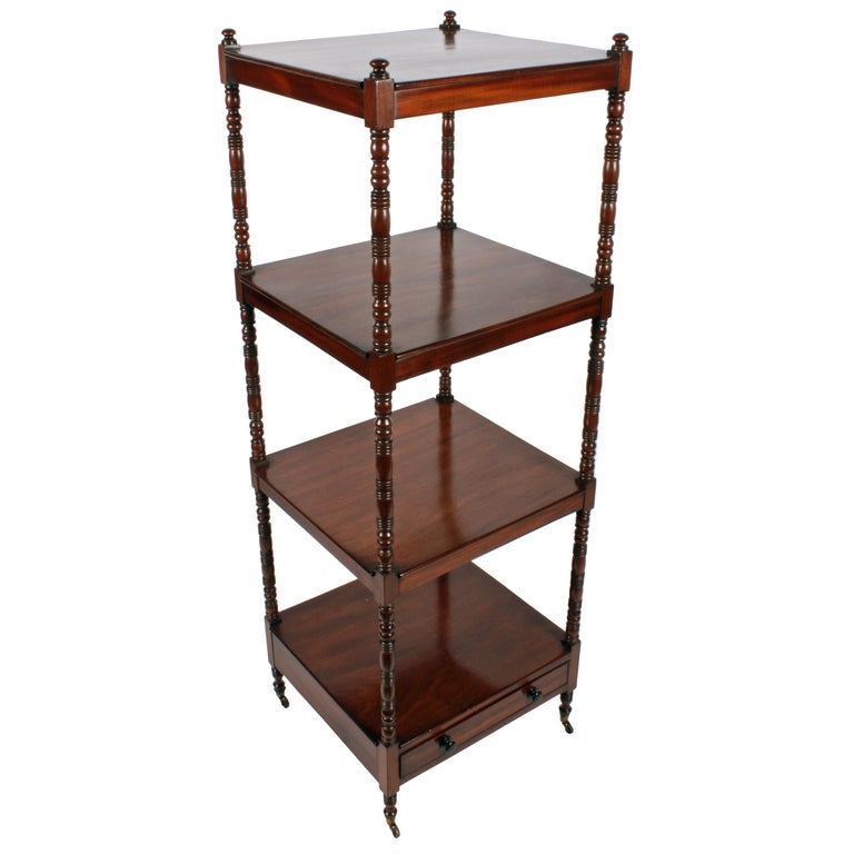 Georgian Mahogany Four-Tier Whatnot