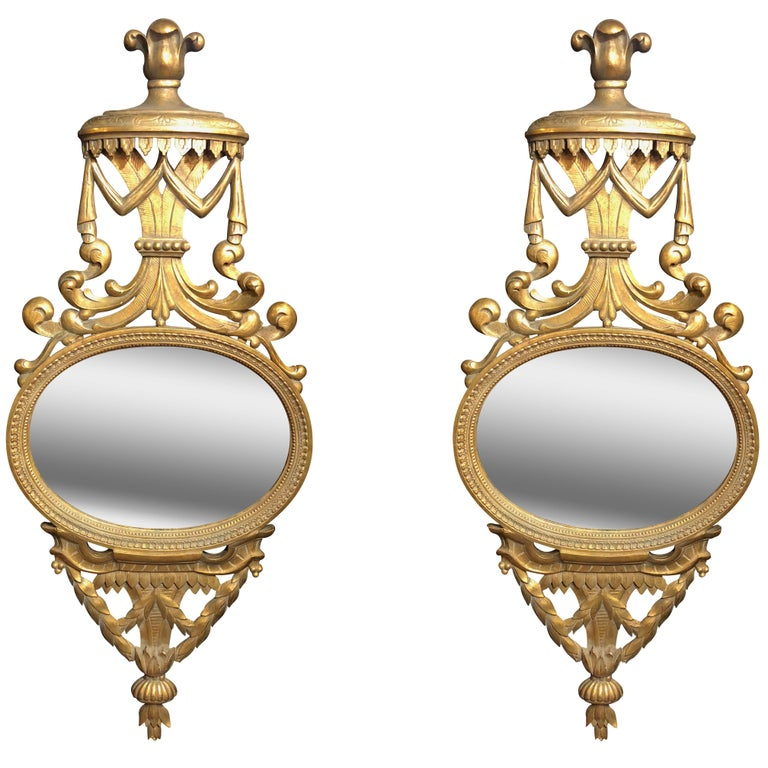 Early Pair of Large English George III Carved Mirrors, circa 1850