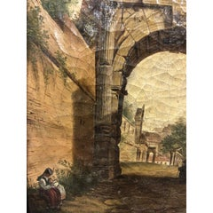 An Early 19th Century 'Grand Tour' Oil Painting in Original Giltwood Frame