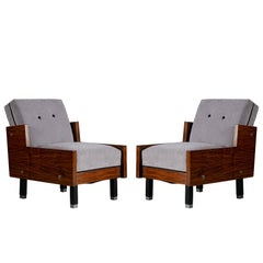 Pair of Panelled Side Midcentury Club Chairs