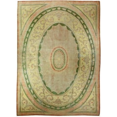 Green Large Vintage Savonnerie Carpet