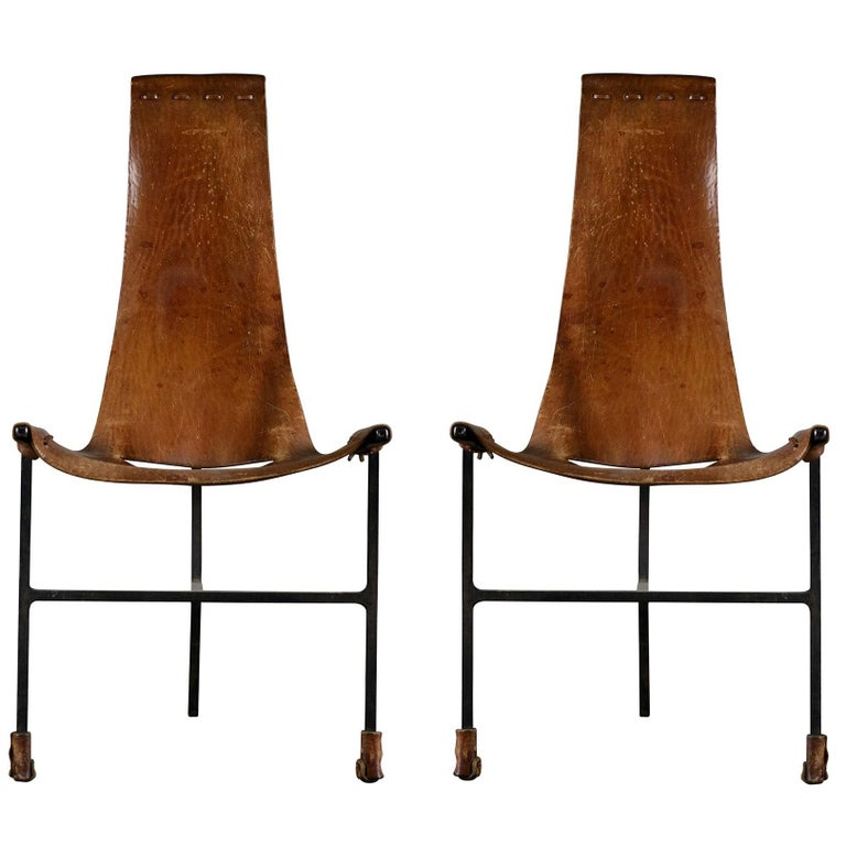 Pair of Leather and Iron Sling Chairs