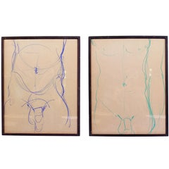 Male Nude Conte Crayon Drawings