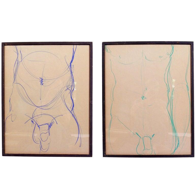 Male Nude Conte Crayon Drawings