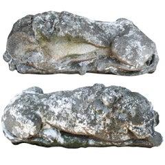 Pair of Antique Cement Garden Lion Figures