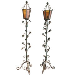 1930s Pair of Wrought Iron Decorative Vine Floor Lamp Torchièrs