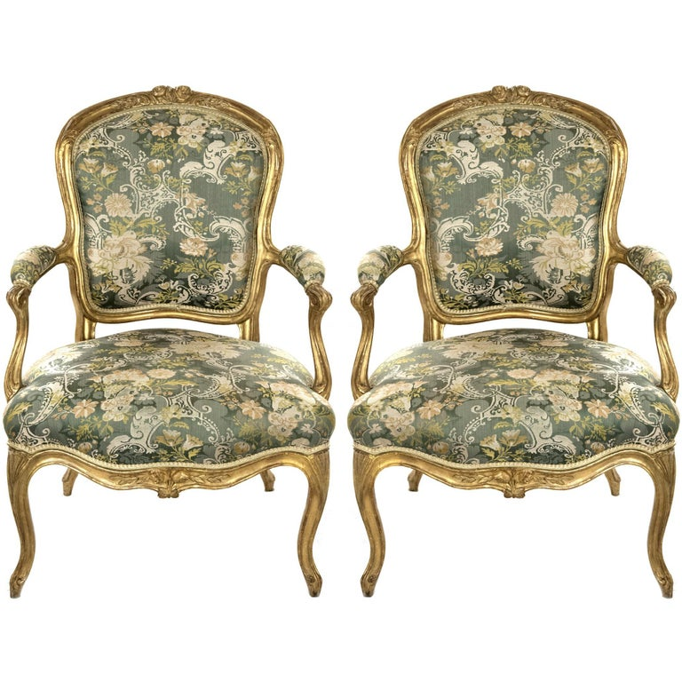 Pair of Louis XV Carved Giltwood Fauteuils