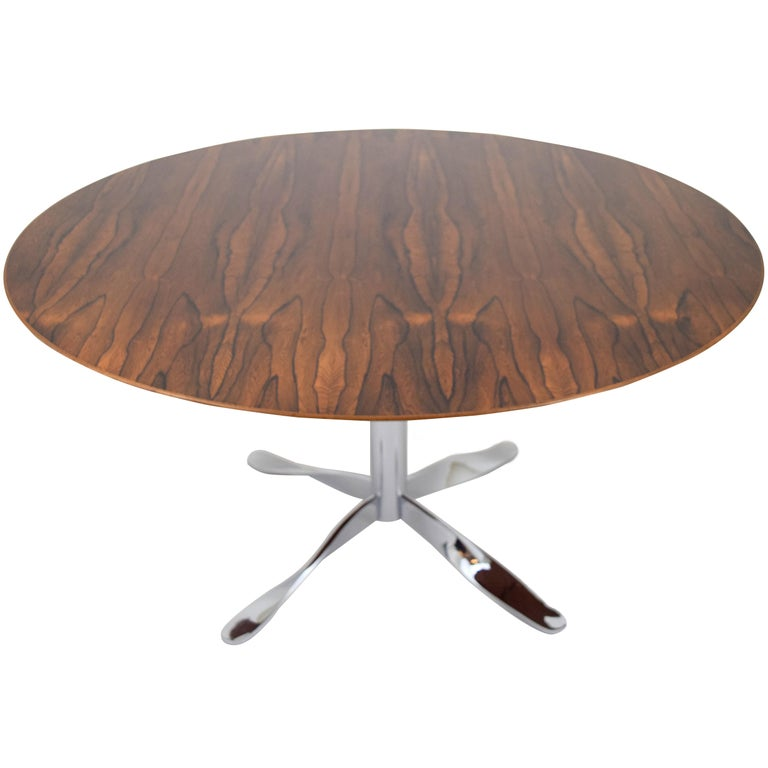 """Rosewood and """"Twisted"""" Chrome Base Dining Table For Sale"""