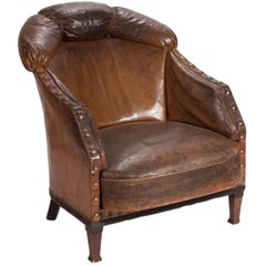 1880s Uniquely Designed Brown Leather Lounge Armchair with Studded Trim