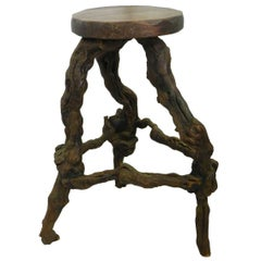 Midcentury Stool Vine Root Bar, circa 1950, Three available