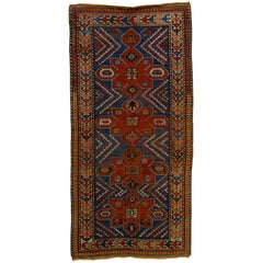 Early 20th Century Blu and Red Natural Wool Caucasian Medallion Kazak Rug