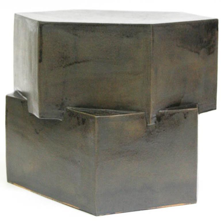 Contemporary Ceramic Black Hexagon Side Table For Sale