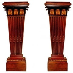 Massive Pair of Bronze-Mounted Pedestals