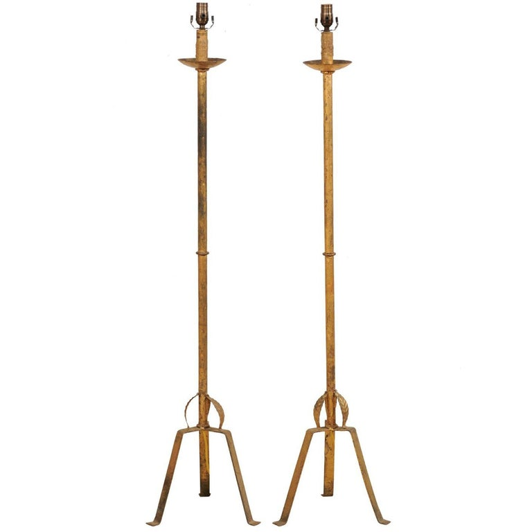 Pair of French Mid-20th Century Gold Painted Iron Floor Lamps