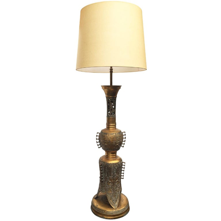 1940s Tall Brass Table Lamp in the Style of James Mont