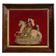 Petit Pointe Needlework Honoring Queen Victoria in Mahogany Frame