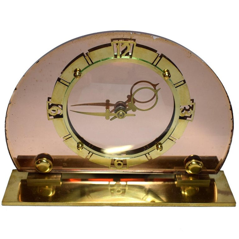 1930s Art Deco English Pink Mirror Clock by Smiths