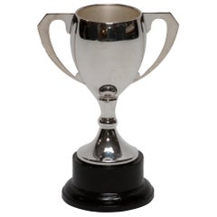 Silver Trophy with Handles on Wood Base