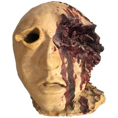 Torn Human Head Sculpture in Brutalist Style Signed E.D. 71