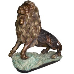 Neoclassic French Heavy Solid Bronze Lion