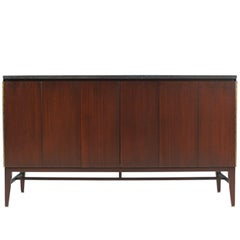 "Paul McCobb ""Irwin Collection"" Credenza with Bi-Folding Doors & Black Marble Top"