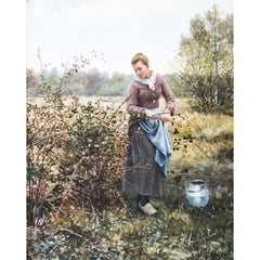 """Autumn Harvest"" by Daniel Ridgway Knight, Signed"