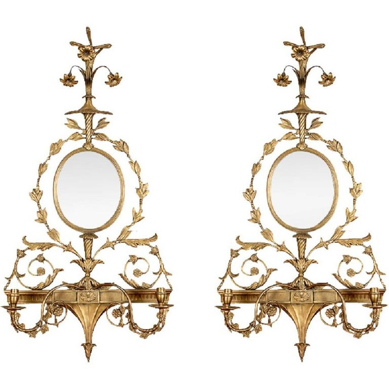 Pair of Adam Style Sconce Mirrors