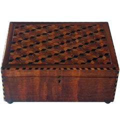 Handsome English William IV Mahogany Dressing Box with Tumbling Block Inlay