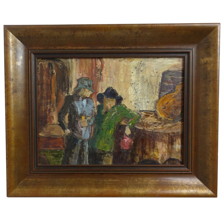 Impressionist Style Bar Scene Painting Signed P. Archer, circa 1940 For Sale