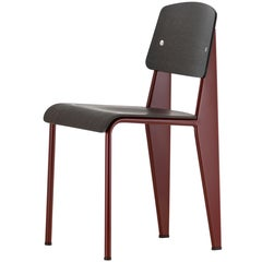Jean Prouvé Standard Chair in Dark Oak and Red Metal for Vitra
