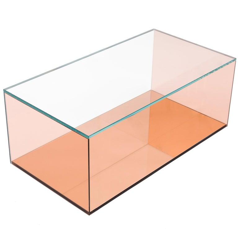 Desert Mirror Coffee Table in Mirrored Peach Glass