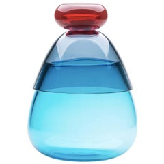 Kount Red-Blue and Light Blue Vase with Lid by Karim Rashid