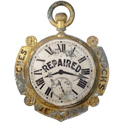 Rare 1800s Double-Sided Watchmaker Trade Sign