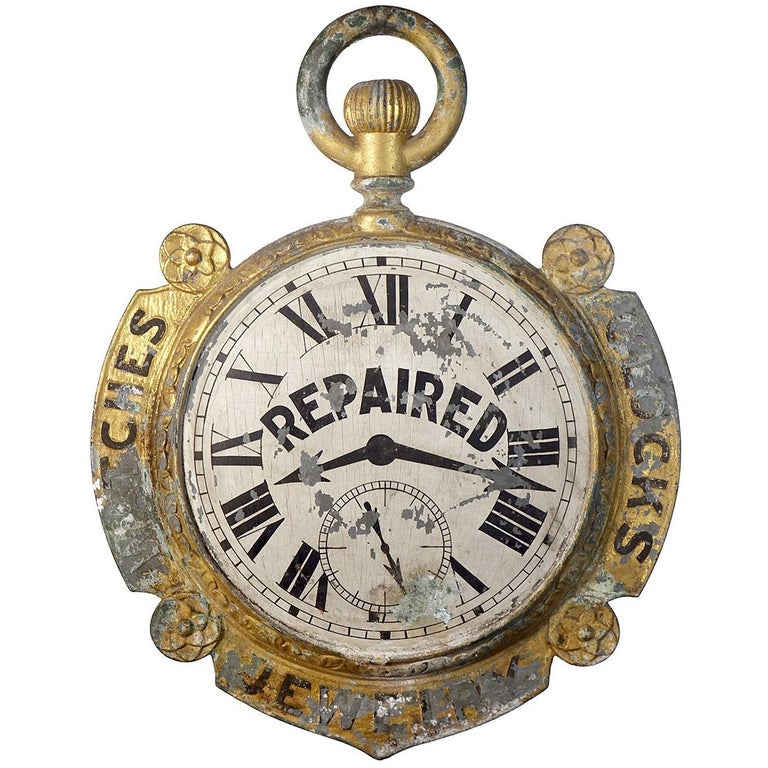 Rare 1800s Double-Sided Watchmaker Trade Sign For Sale
