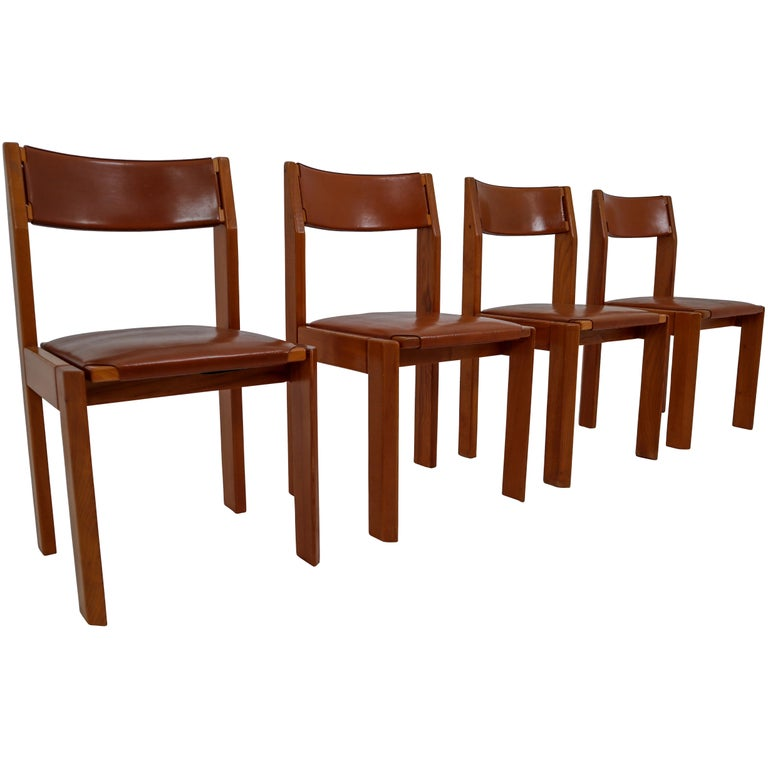 Set of Four Elm Wood and Leather Dining Chairs in the Style of Pierre Chapo For Sale