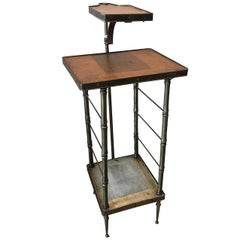 Vintage Leather Top Table with Swing Arm Tray