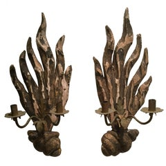 Pair of 18th Century French Carved Wood Sconces