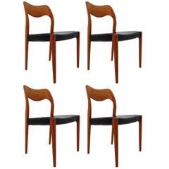 Set of Four Niels Otto Møller Dining Chairs by J. L. Møller Møbelfabrik No: 71