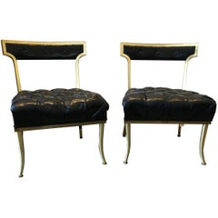 Pair of Rare Original Billy Haines Leather Brass Frame Chairs