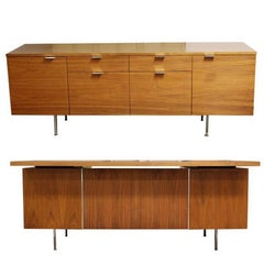 Mid-Century Modern George Nelson Herman Miller Walnut Desk and Credenza, 1950s