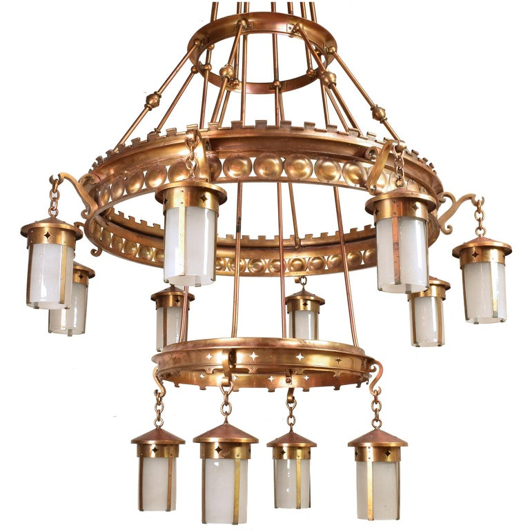 Immense arts and crafts twelve lantern chandelier for sale at 1stdibs immense arts crafts twelve lantern chandeliers aloadofball Images