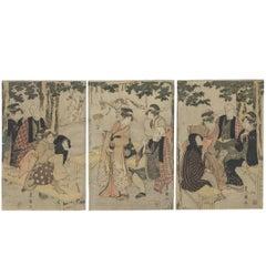 Utagawa Toyokuni I, Inari Shrine, Actor, Fox, Kitsune, Triptych, Edo, Ukiyo-E