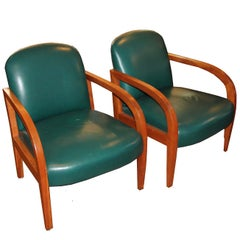 Pair of Donghia Leather Midcentury Armchairs