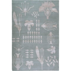 Botanical Anatomy Grey 6x4 Rug Hand-Knotted in Wool and Silk by Christopher Kane