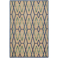Bamboo Trellis Blue Hand-Knotted 6x4 Rug in Wool and Silk by Neisha Crosland