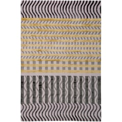 Wave Construct Hand-Knotted 6x4 Floor Rug in Wool and Silk by Christopher Kane
