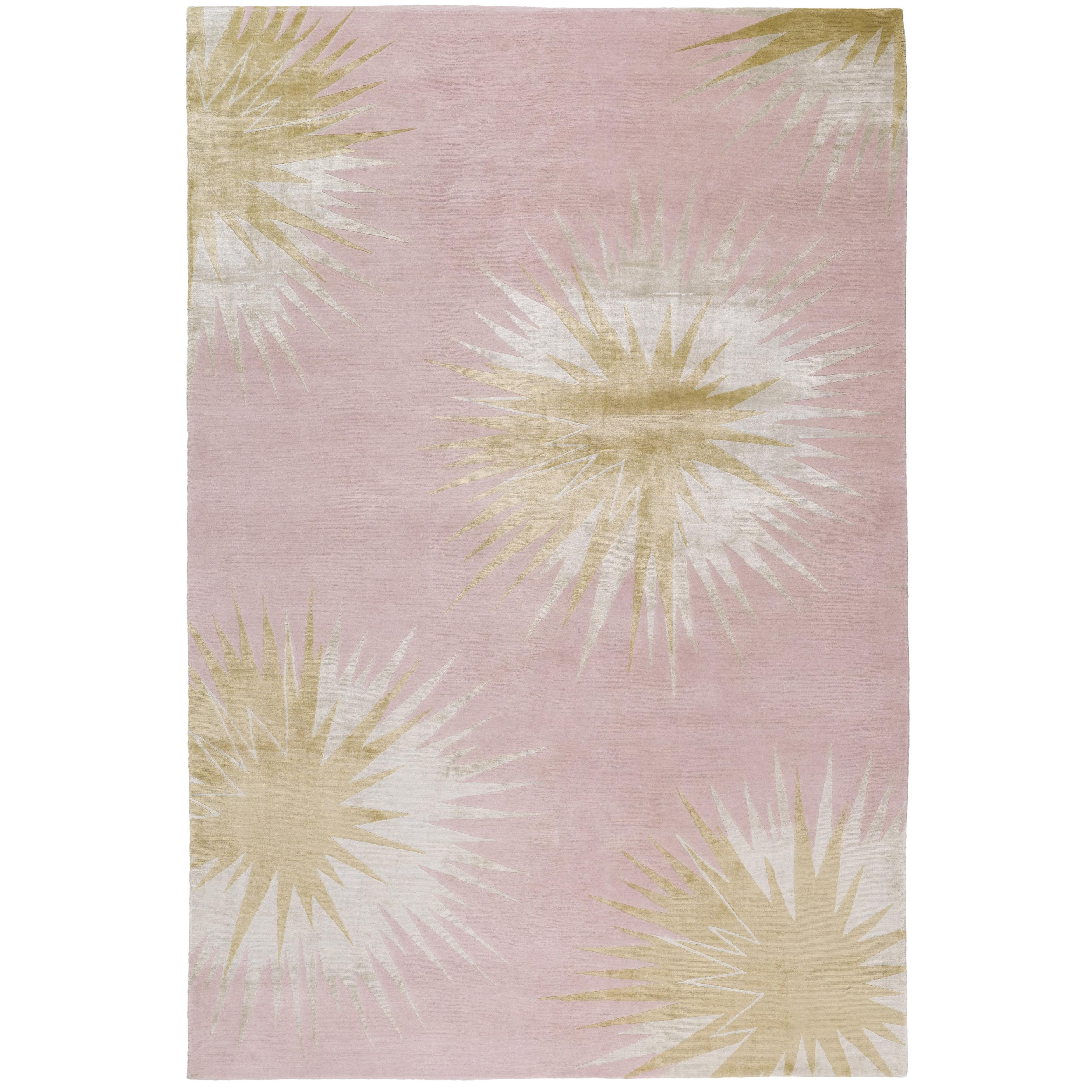 Thistle Gold Hand Knotted 6x4 Floor Rug In Wool And Silk By Vivienne  Westwood