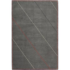 Repp Stripe Hand-Knotted 6x4 Floor Rug in Wool and Silk by Thom Browne