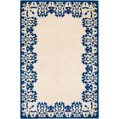 Cobalt Hand-Knotted 6x4 Floor Rug in Wool and Silk by Rodarte
